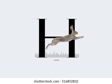 Initial capital letter H decorated with jumping hare rabbit in modern minimal style