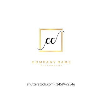 Initial CC beauty monogram and elegant logo design, handwriting logo of initial signature, wedding, fashion, floral and botanical with creative template.