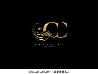 Initial CC letter luxury beauty flourishes ornament golden monogram logo