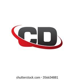 initial CD swoosh ring company logo red black