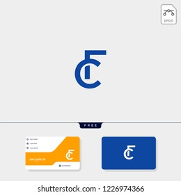 initial CF or FC creative logo template and business card include. vector illustration and logo inspiration