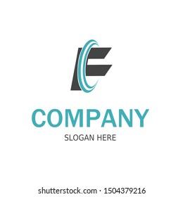 Initial CF Logo monogram design template. Simple style modern logo.