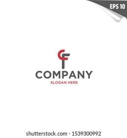 Initial CF Logo monogram design template. Simple elegant shape style modern logo.