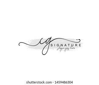 Initial CG beauty monogram and elegant logo design, handwriting logo of initial signature, wedding, fashion, floral and botanical with creative template.