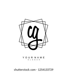 Initial CG handwriting logo vector