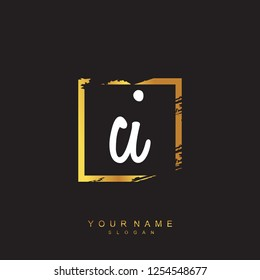 Initial CI handwriting logo vector