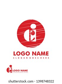 Initial CI negative space logo with circle template