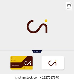 initial ci,ic creative logo template and business card design template include. vector illustration and logo inspiration
