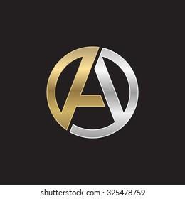 A initial circle company or AO OA logo black background