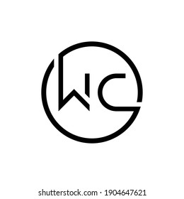Initial Circle Letter WC Logo Design Abstract Modern vector Illustration