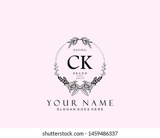 Initial CK beauty monogram and elegant logo design, handwriting logo of initial signature, wedding, fashion, floral and botanical with creative template.
