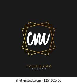Initial CM handwriting logo vector