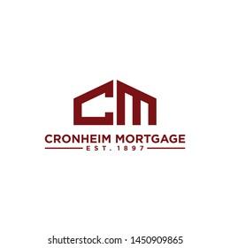 Initial CM logo design template for building