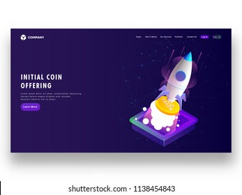 Initial Coin Offering (ICO) startup concept based landing page design with isometric illustration of rocket, launching Ico token.