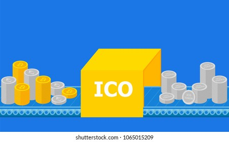Initial coin offering, ICO Token production process research, investments cryptocurrency. Token sales in exchange for bitcoin, ethereum. IT startup crowdfunding. Vector illustration