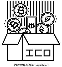 initial coin offering icon. ICO linear concept. Cryptocurrency crowdfunding investment vector line illustration. Including bitcoin, bitcoin cash and ethereum tokens.