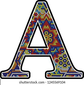 initial a with colorful dots abstract design with mexican huichol art style