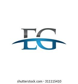 EG initial company group blue swoosh logo