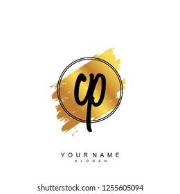 Initial CP handwriting logo vector