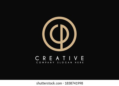 Initial CP Logo Design Element, Vector Initial Letter Branding Logo. Isolated on Black background