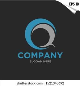Initial CQ, QC Logo monogram design template. Simple circle flat style modern logo.