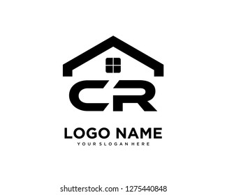 Initial CR home logo vector.