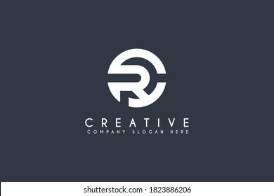 Initial CR RC logo design. vector letter logo illustration isolated on blue background
