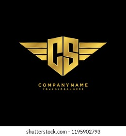 Initial CS wing logo template vector
