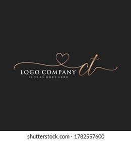 Initial CT beauty monogram and elegant logo design, handwriting logo of initial signature, wedding, fashion, floral and botanical with creative template.