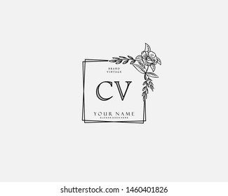 Initial CV beauty monogram and elegant logo design, handwriting logo of initial signature, wedding, fashion, floral and botanical with creative template.