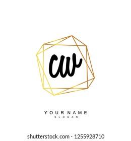 Initial CW handwriting logo vector