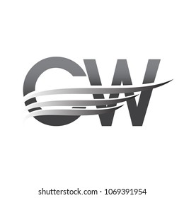 Initial CW wing logo, grey color vector logotype, logo for company name business and company identity.