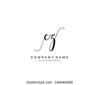 Initial CZ beauty monogram and elegant logo design, handwriting logo of initial signature, wedding, fashion, floral and botanical with creative template.