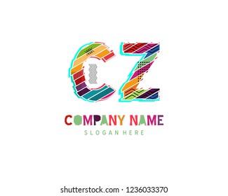 Initial CZ Full color initial logo vector
