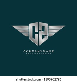 Initial CZ wing logo template vector