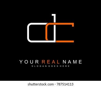 Initial D & C minimalist logo template vector