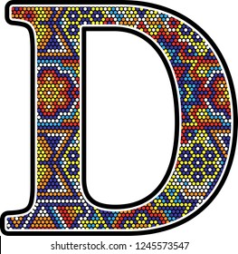 initial d with colorful dots abstract design with mexican huichol art style