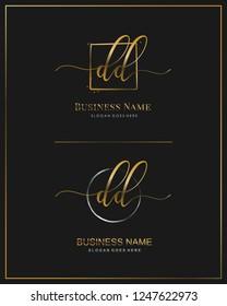 Initial D D DD handwriting logo vector. Letter handwritten logo template.