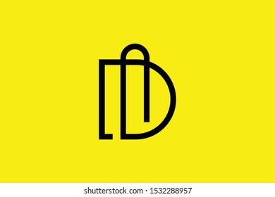 Initial D DM MD modern monogram and elegant logo design, Professional Letters Vector Icon Logo on yellow background.