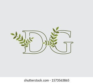 Initial  D, G and DG Nature Floral Logo Icon, Green Leaf Letter Design.