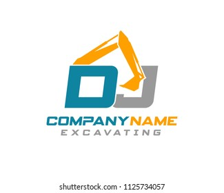 Initial D J excavator logo concept vector with arm excavator template vector.