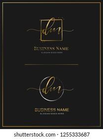 Initial D M DM handwriting logo vector. Letter handwritten logo template.