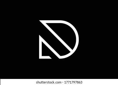 Initial D modern monogram and elegant logo design, Professional Letters Vector Icon Logo on black background.