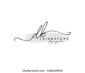 Initial DB beauty monogram and elegant logo design, handwriting logo of initial signature, wedding, fashion, floral and botanical with creative template.