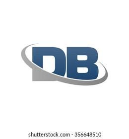 initial DB swoosh ring company logo blue gray