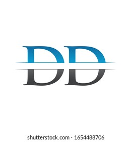 Initial DD Letter Logo Design Vector With Blue and Grey Color. DD Logo Design