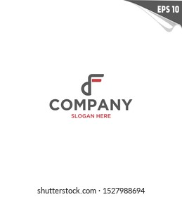 Initial DF Logo monogram design template. Simple elegant shape style modern logo.
