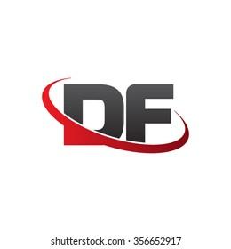 initial DF swoosh ring company logo red black