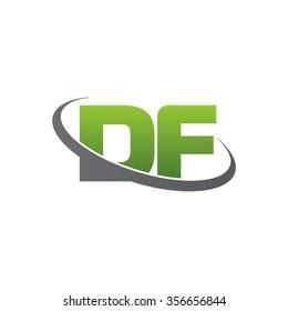 initial DF swoosh ring company logo green gray