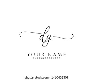 Initial DG beauty monogram and elegant logo design, handwriting logo of initial signature, wedding, fashion, floral and botanical with creative template.